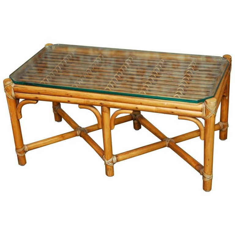 Bamboo Cane Coffee Table: Diminutive Bamboo And Rattan Coffee Table By McGuire For