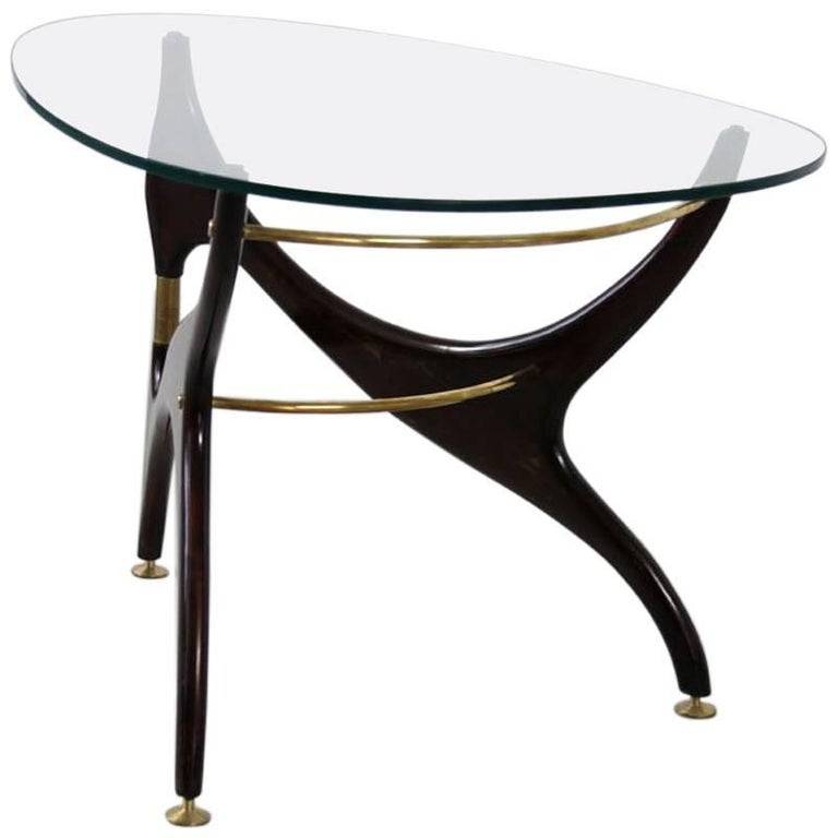 Italian Coffee Table with Glasstop in the Style of Carlo Mollino, 1950s