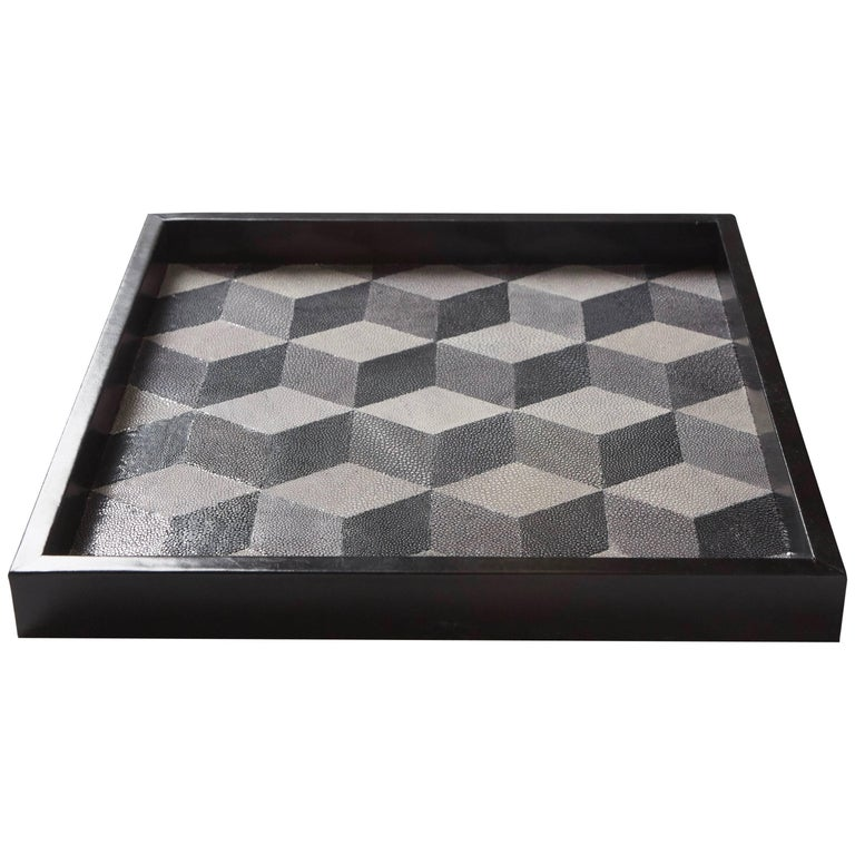'Geo' Shagreen Tray, Shagreen Marquetry by Christina Z Antonio For Sale
