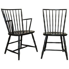 Pair of Black Lacquer Faux Bamboo Windsor Chairs by Nichols and Stone