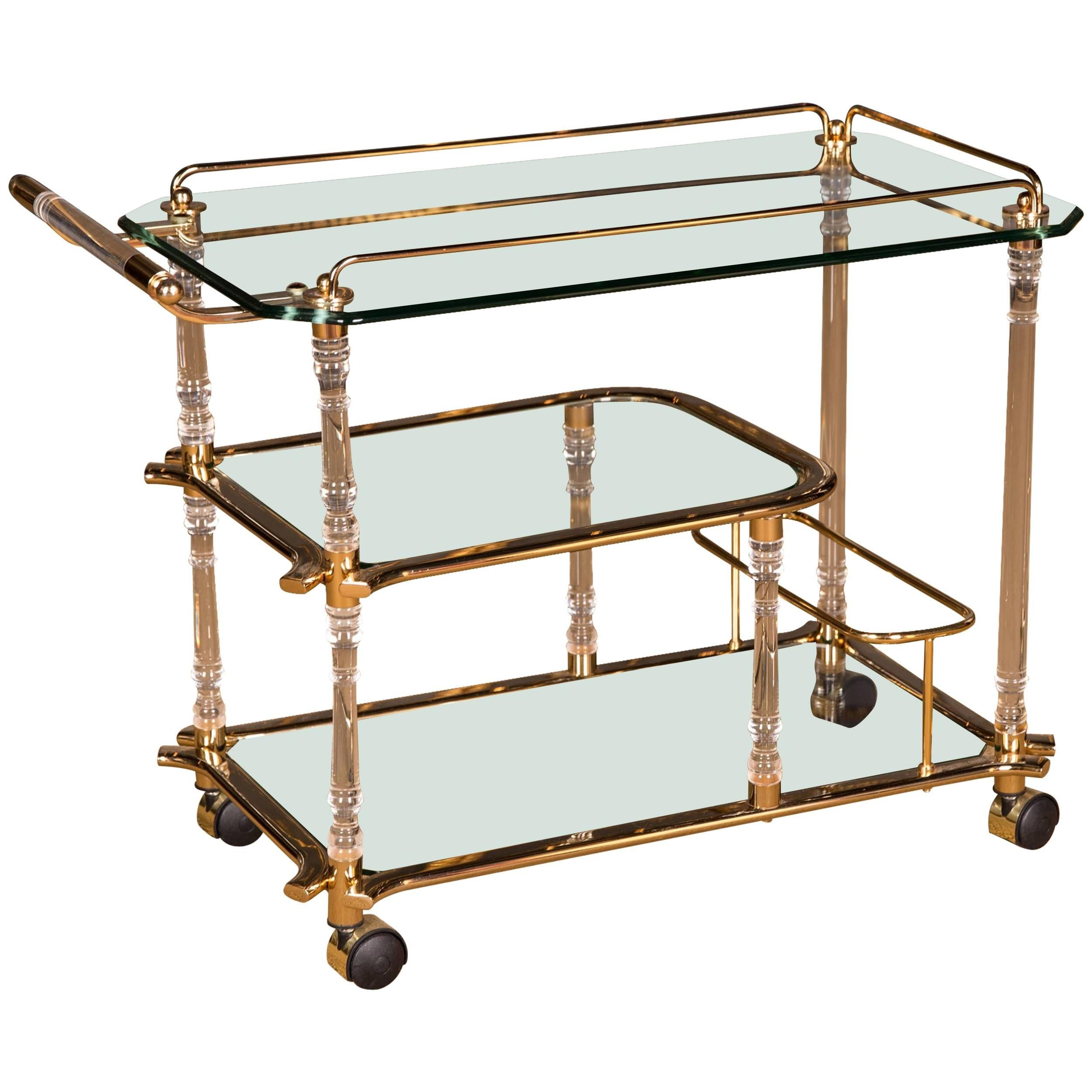 High Quality Acrylic Serving Tray Table With Brass