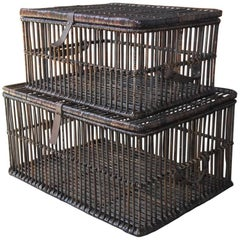 Pair of Willow and Rattan Pigeon Crate Storage Baskets