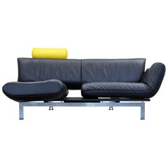 De Sede Ds 140 Designer Sofa Leather Black Yellow Two-Seat Relax Function Couch