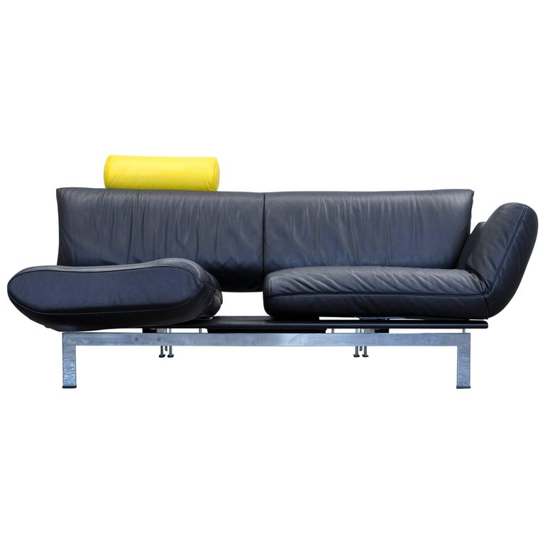De Sede Ds 140 Designer Sofa Leather Black Yellow Two Seat Relax Function Couch At 1stdibs