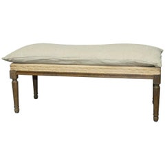 Louis XVI Style Oak Bench with Burlap and Linen Upholstery