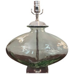 1970s Pale Green Blown Glass Lamp with Lucite Base