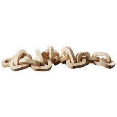 Hand-Carved Pinewood Chain Sculpture by Anastasya Martynova the New Craftsmen