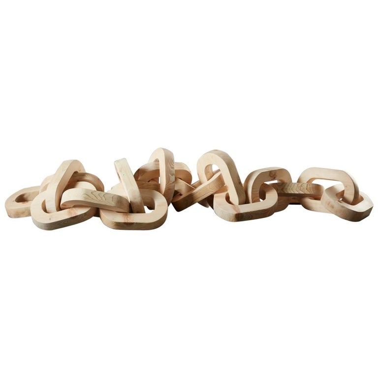 Hand-Carved Pinewood Chain Sculpture by Anastasya Martynova the New Craftsmen For Sale