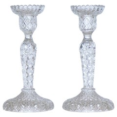 Antique German Pair of Meisenthal Crystal Candlesticks Candleholders, circa 1907