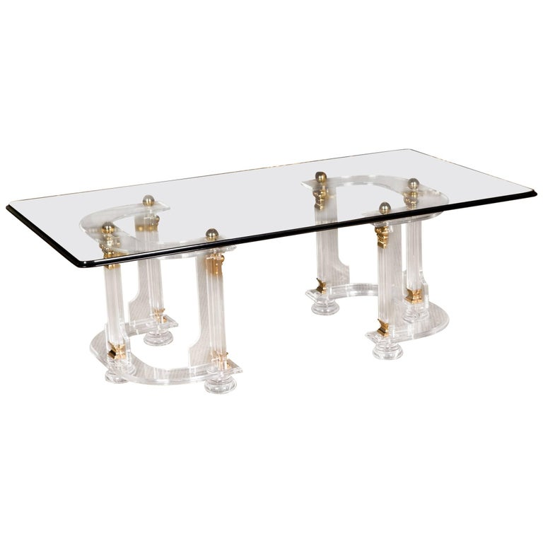 20th century high quality acrylic coffee table with gold for High quality coffee tables