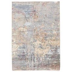 Handmade Contemporary Rug in Silk and Wool Earth Shades.