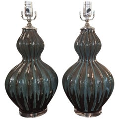 1960s Italian Turquoise and Brown Ceramic Gourd Lamps with Lucite Base, Pair