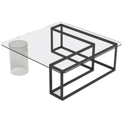 Contemporary Nunki Square Coffee Table with Black powder coated aluminium base