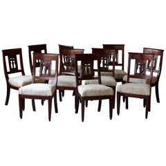 Set of Ten Antique Mahogany Dining Chairs with Detailed Back Carvings