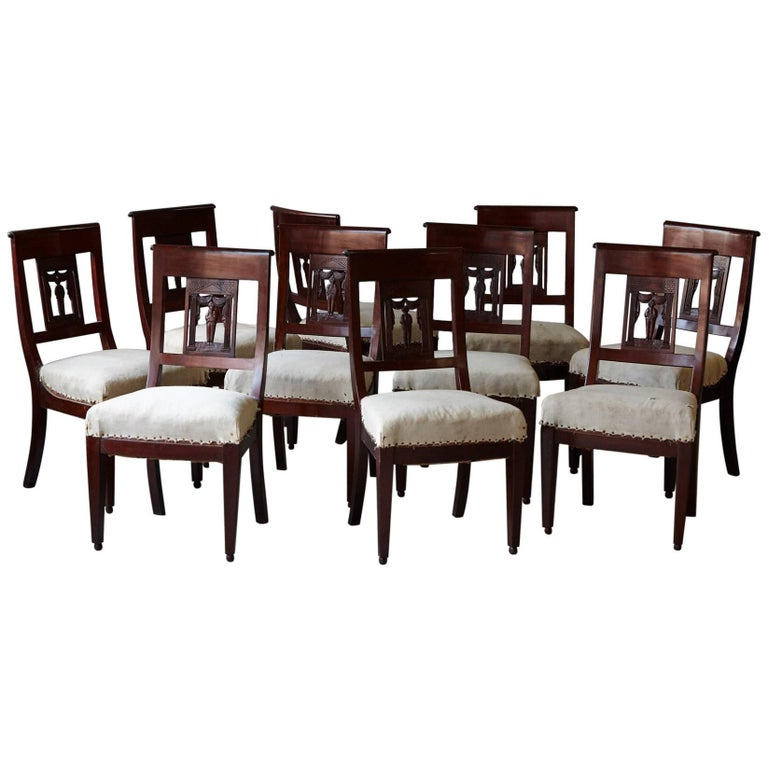 Set of Ten Antique Dining Chairs with Back Carvings Ready for Decorating Touch 1