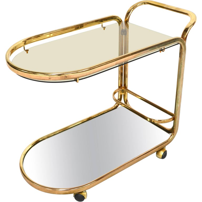 Italian Bar Cart or Serving Trolley in Gold, 1970s