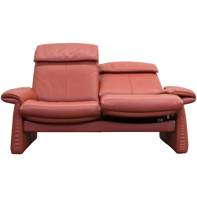 erpo designer leather sofa red orange twoseater relax function modern at 1stdibs. Black Bedroom Furniture Sets. Home Design Ideas