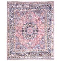 Stunning Raspberry, Blue and Black Antique Tabriz Carpet