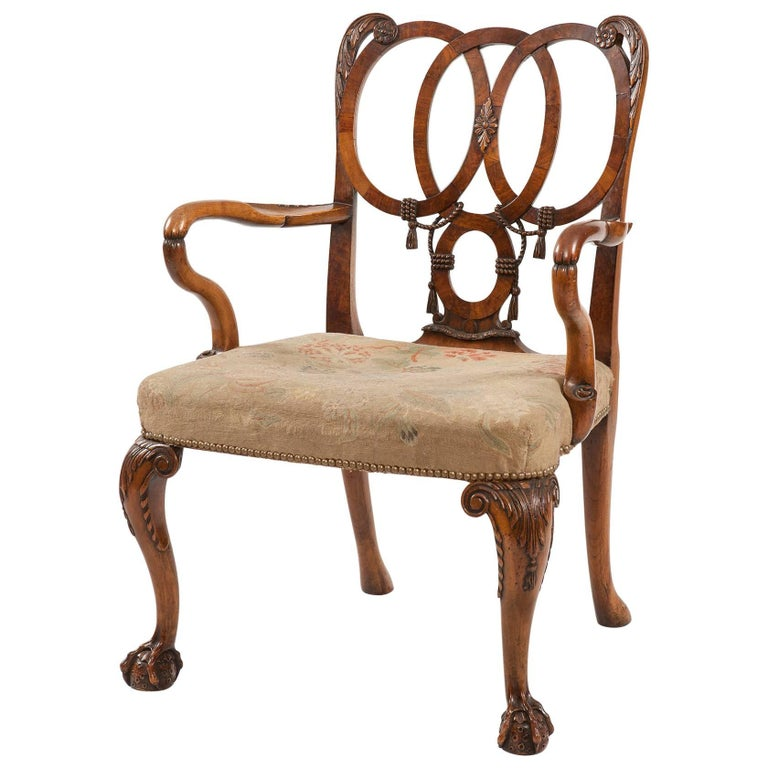 English Carved Walnut Armchair in the George II Style