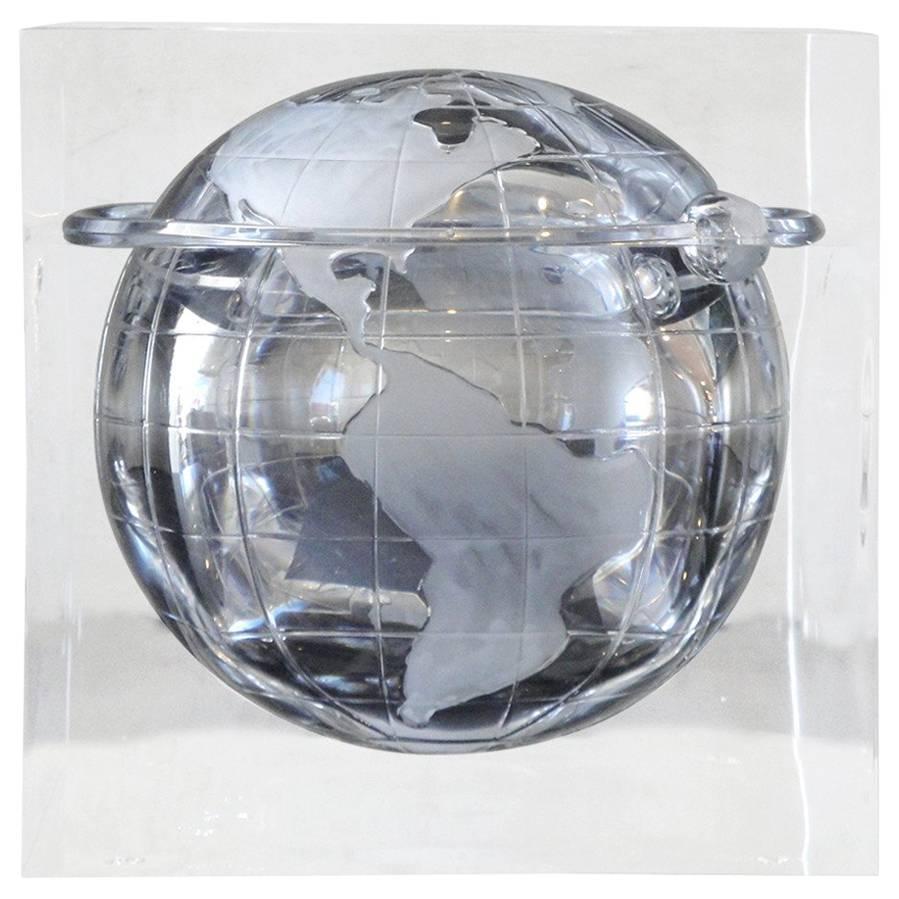 Lucite Globe Ice Bucket / Candy Dish