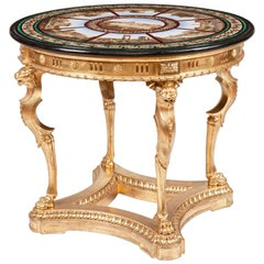 19th Century Grand Tour' Giltwood and Micromosaic Centre Table with Roman Scenes