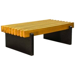 Midcentury Beech Wooden Slat Bench Dutch Design in Style of Spectrum, 1960s