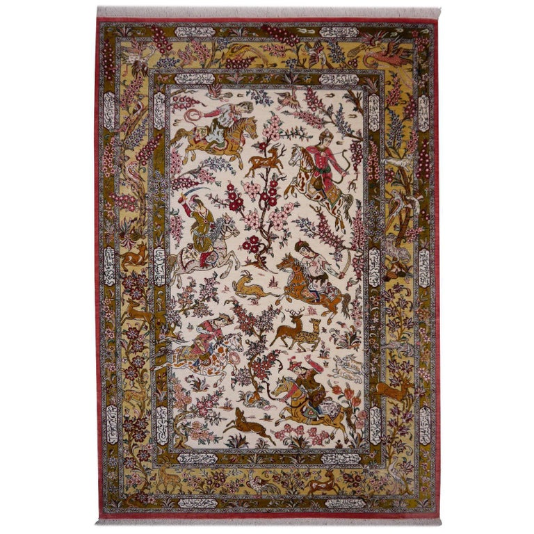 Silk Hunting Persian Rug Hand-Knotted in Qum For Sale