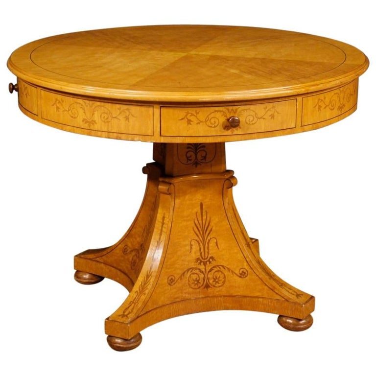 20th Century Italian Inlaid Round Table in Charles X Style