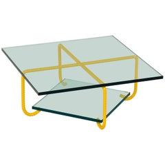21st Century Custom Contemporary Steel Power Coated Frame And Glass Coffee Table