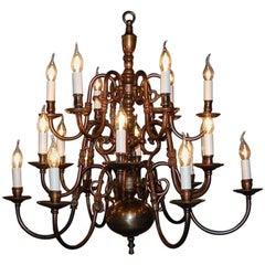Large 19th Century Brass Chandelier 18 lights