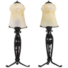 Schneider Pair of French Art Deco Table Lamps, 1925