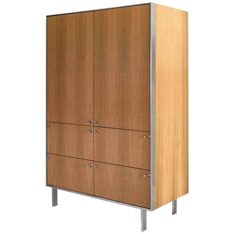 Ingemar Cabinet - Tall (or Dining Hutch or High Boy) in Oak and Nickel