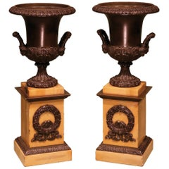 Pair of Early 19th Century Bronze Campana-Shaped Urns