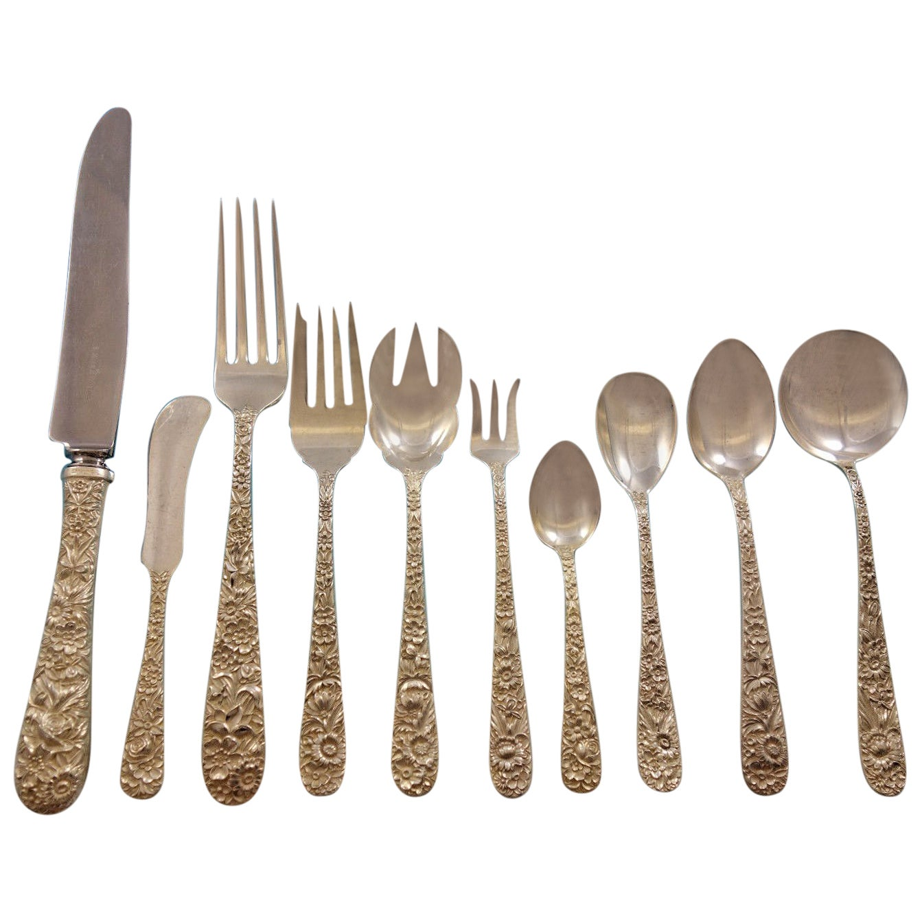 Repousse by Kirk Sterling Silver Flatware Set for 12 Service 134 Pieces Dinner