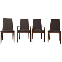 Walnut Mid-Century Modern Dining Chairs by Dillingham, Set of Four