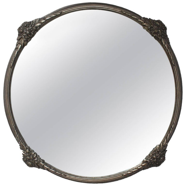 Fine French Art Deco Silver Plated Bronze Framed Round Mirror For ...