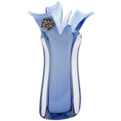 Sky Blue and Royal Blue Murano Glass Sommerso Vase with Sterling Silver Leaf