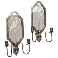 Pair of Queen Anne Style Etched Glass Girandoles
