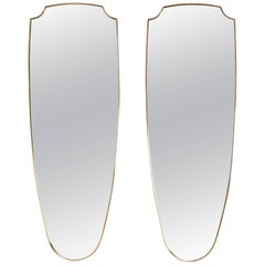 Pair of Beautiful Shield Shaped Brass Wall Mirrors, Italy, circa 1950s