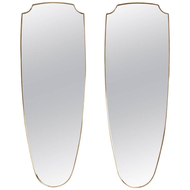 Pair of Beautiful Shield Shaped Brass Wall Mirrors, Italy, circa 1950s