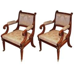 Unusual 'Thomas Hope' sabicu wood armchairs