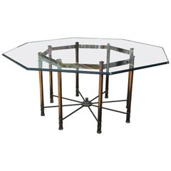 Hollywood Regency Mastercraft Brass and Glass Octagonal Dining Room Table