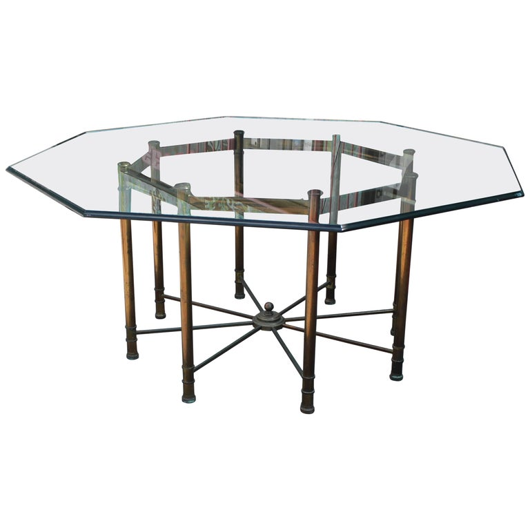 Hollywood Regency Mastercraft Brass and Glass Octagonal ...