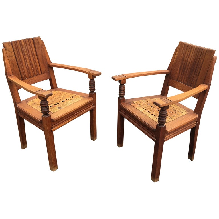 Charles Dudouyt, Pair of Armchairs in Solid Oak and Wicker