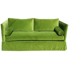 Custom Modern Even Armed Skirted Green Velvet High Back Sofa