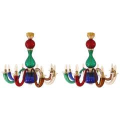 Pair of Gio Ponti for Venini Murano Chandeliers in Multicolored Glass