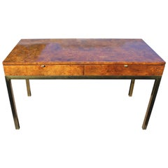 Modern Tomlinson Burl Olive Wood Parson's Desk or Console with Brass Legs