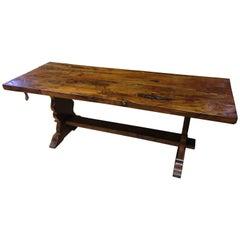 Yew Wood Slab-Top Trestle Table