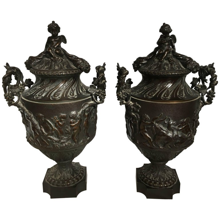 Pair of large classical bronze urns for sale at 1stdibs - Large decorative vases and urns ...