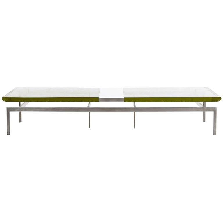 Duran Coffee Table with Thick Borosilicate Glass Top and Nickel Bronze Base